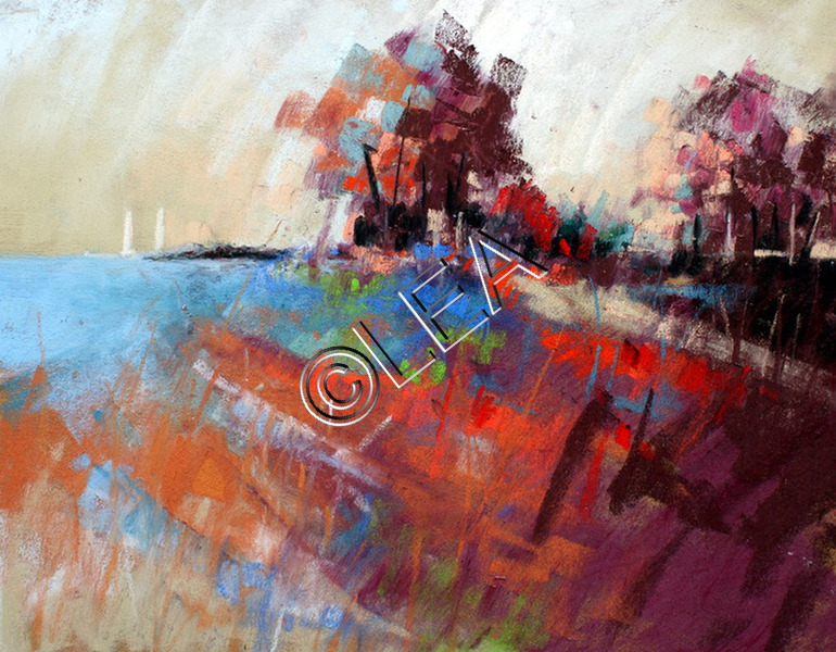 Paysage aux couleurs surréaliste de Léa Pastelliste